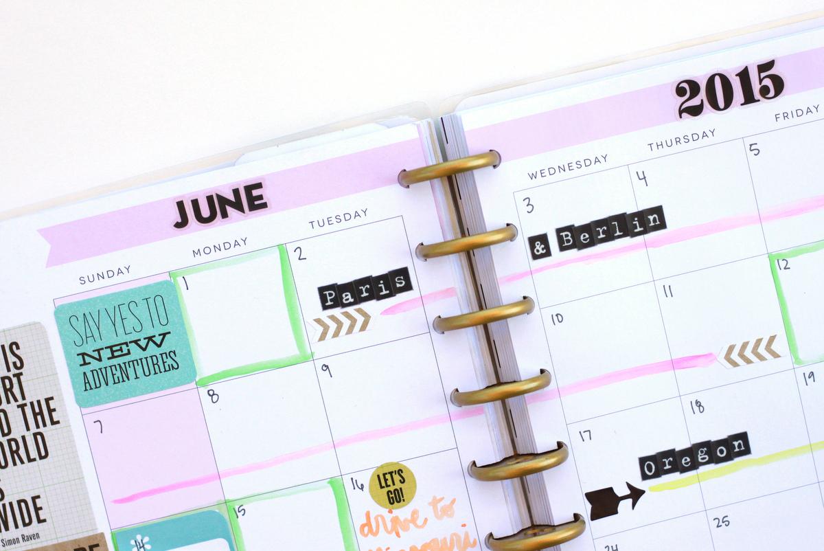 setting up June 2015 in Create 365™ The Happy Planner of mambi Design Team member Heather Adams | me & my BIG ideas