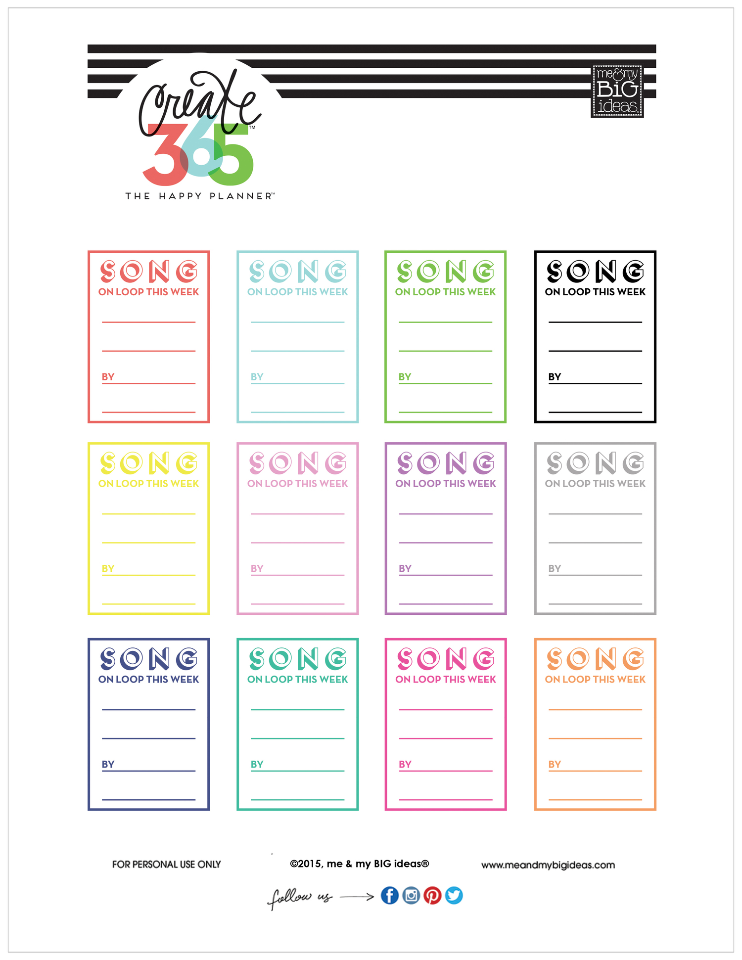 96cd5cde0be3b SONG ON LOOP' free printable for The Happy Planner™ — me & my BIG ideas