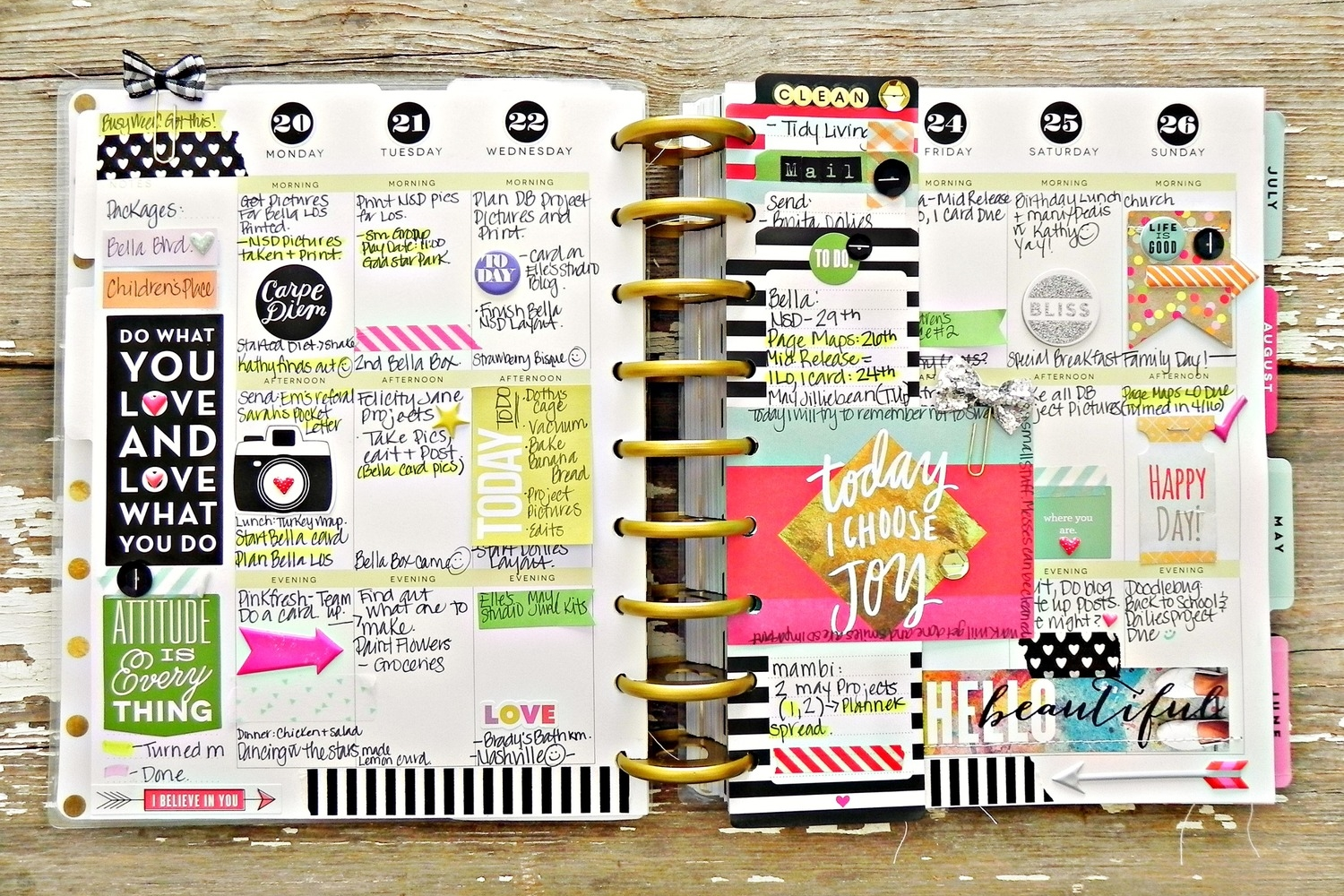 'Today I Choose Joy' colorful & layeredweekly spread