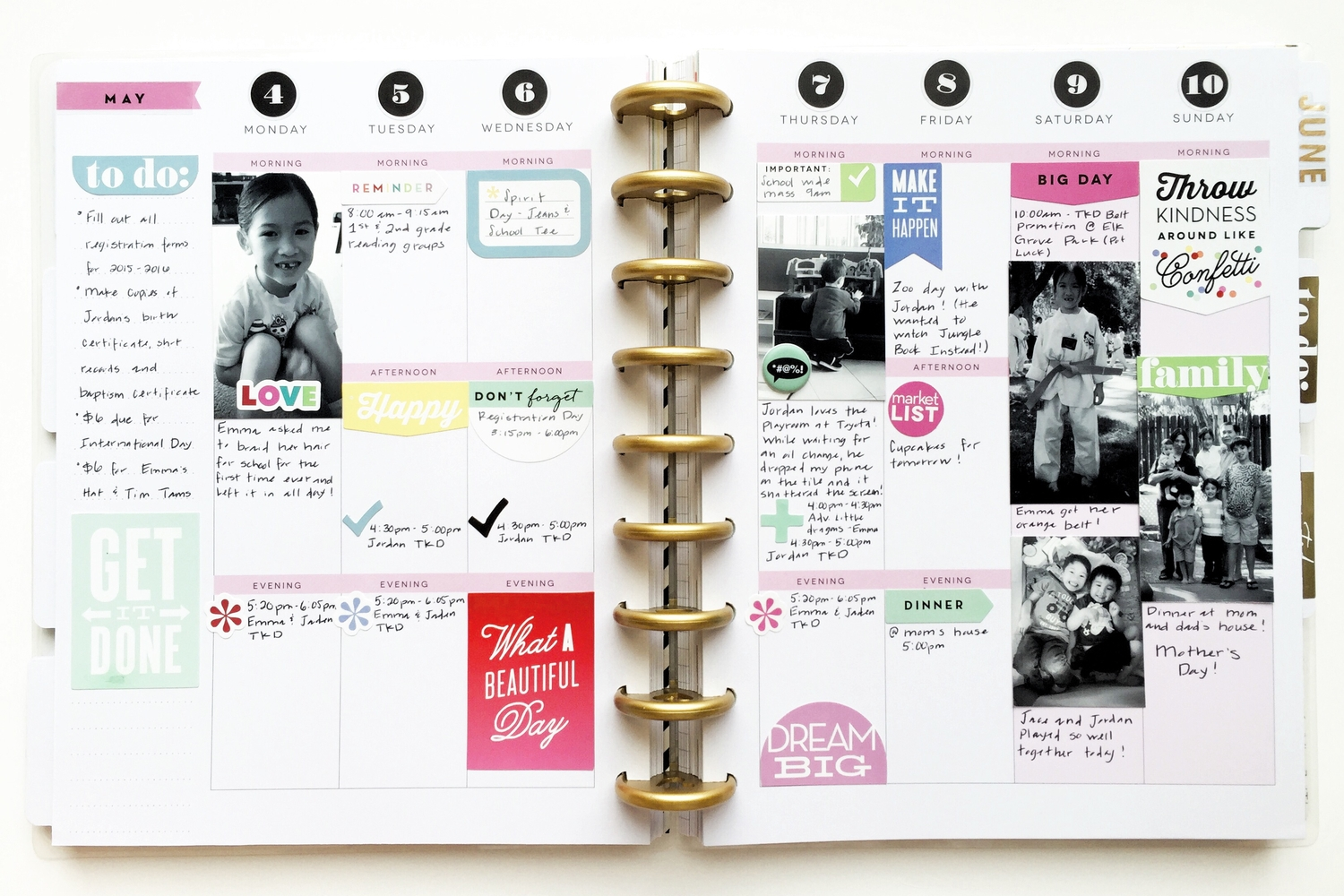 May week in Happy Planner™ with stickers, jots, & photos