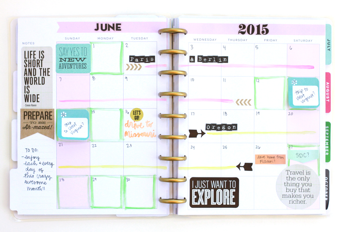 June 2015 prep using watercolor and Happy Planner™ stickers