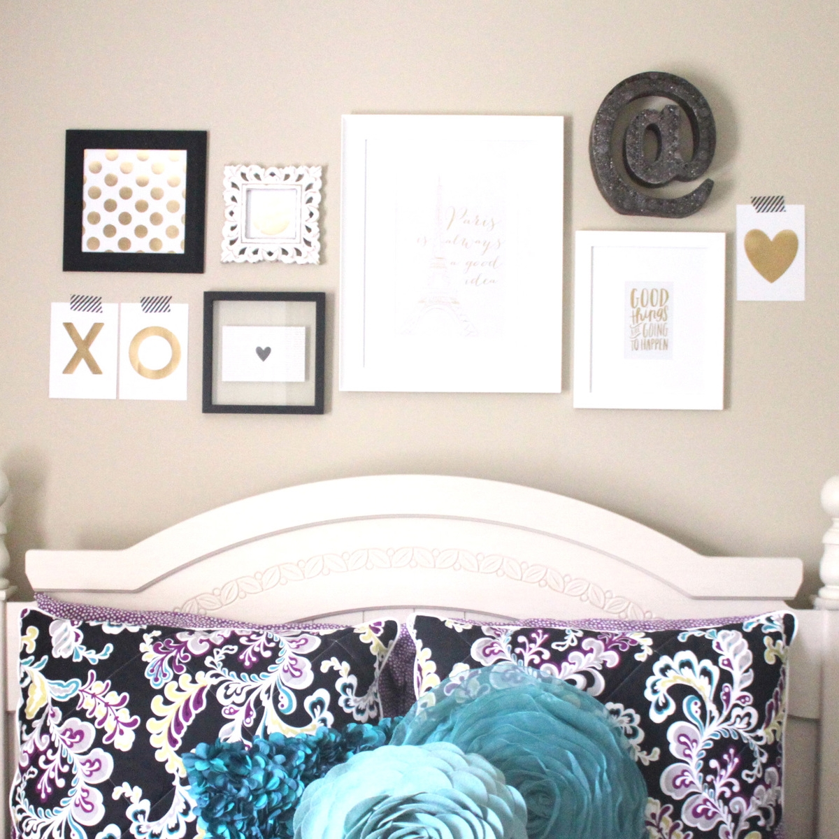 an over-the-bed gallery wall using our DIY Gallery Art Pads