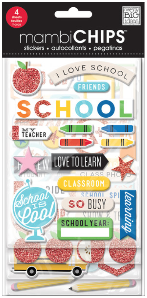 'I Love School' mambiCHIPS school-themed chipboard stickers | me & my BIG ideas