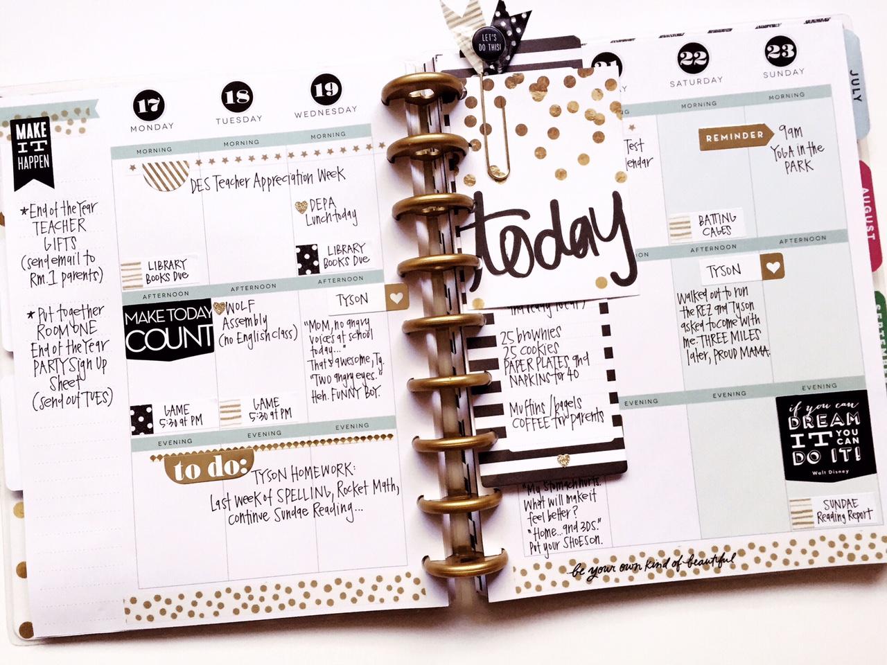 Happy Planner™black & gold weekly spread