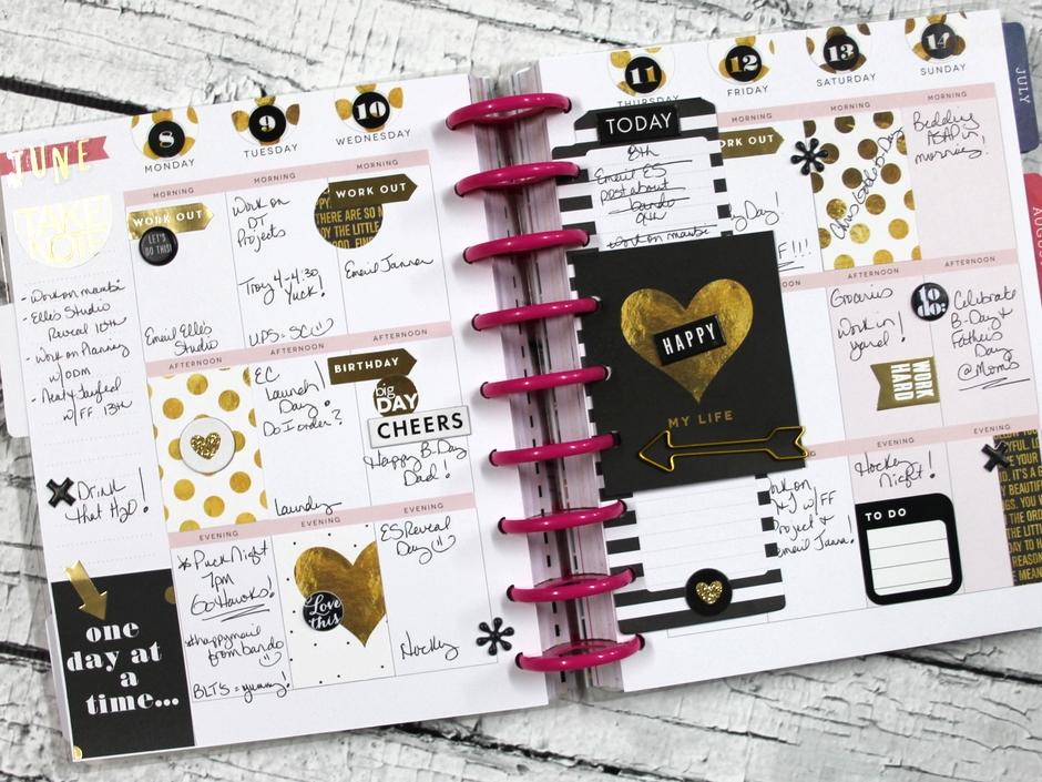 black & gold June weekly spread