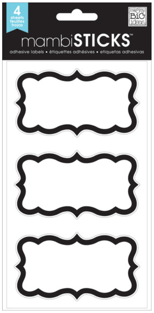 Fancy Black Brackets mambiSTICKS label stickers | me & my BIG ideas