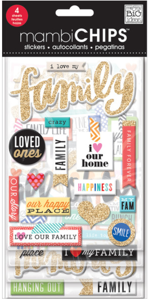 'I Love my Family' mambiCHIPS chipboard stickers | me & my BIG ideas