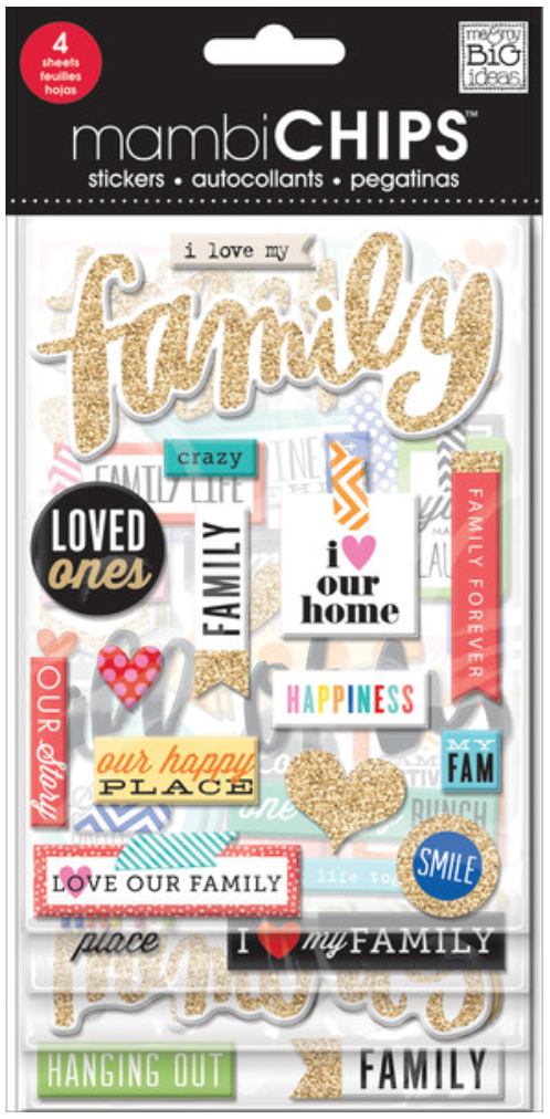 'I Love My Family' mambiCHIPS chipboard stickers   me & my BIG ideas
