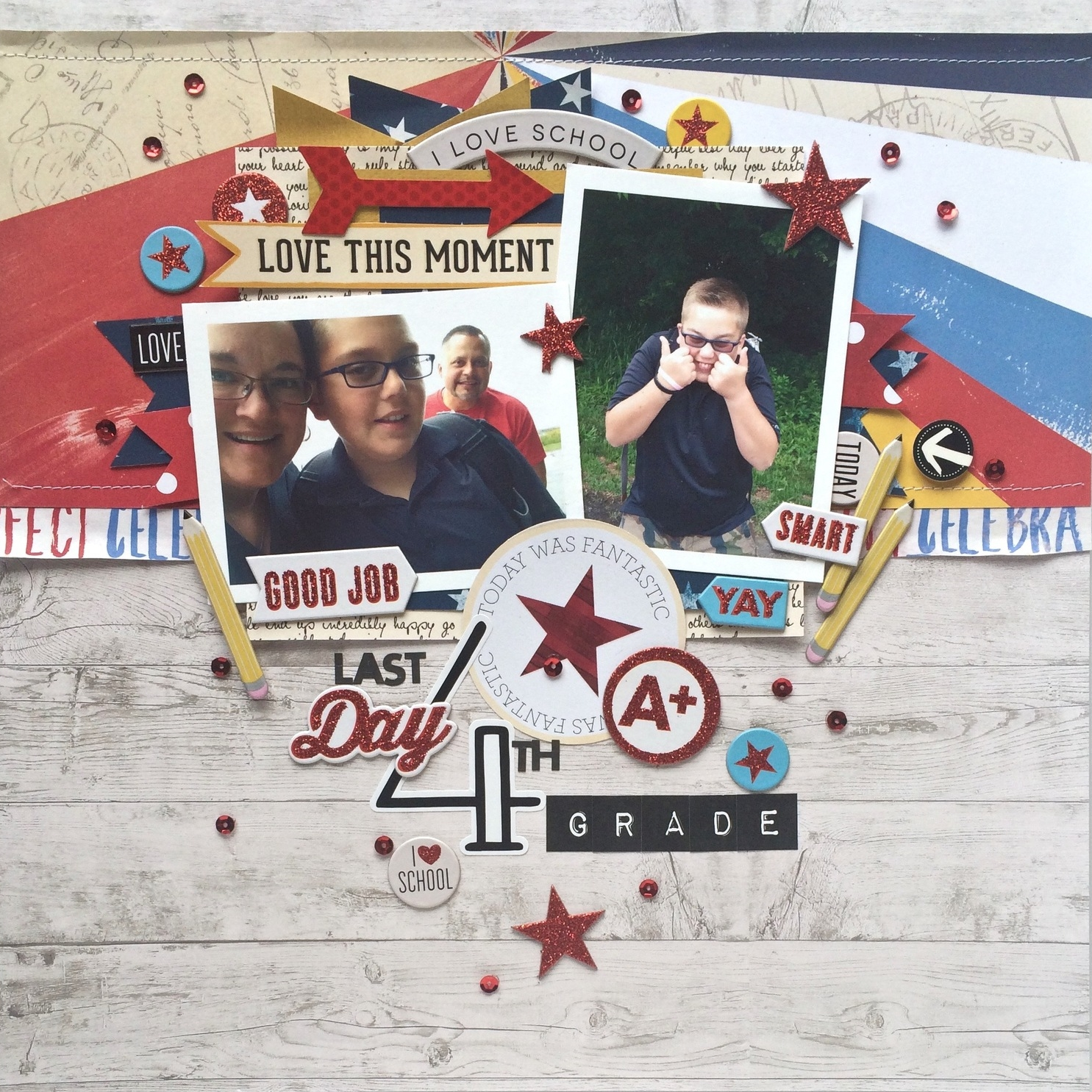 'Last Day of 4th Grade' scrapbook page