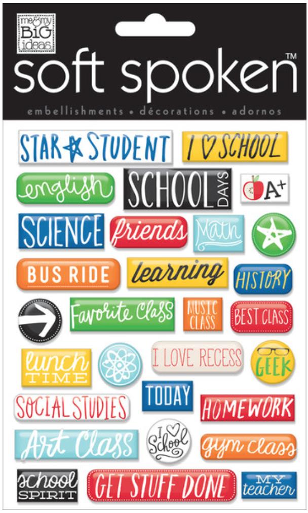 'School - Pebbles' SOFT SPOKEN™ stickers | me & my BIG ideas