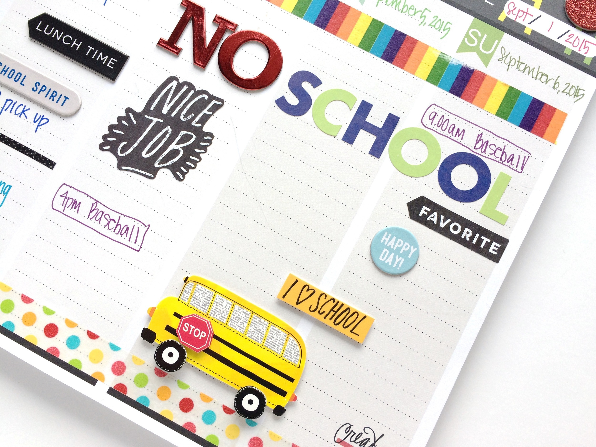 'Back to School' on the Weekly Calendar Pad of mambi Deisgn Team member Mary-Ann Maldonado | me & my BIG ideas