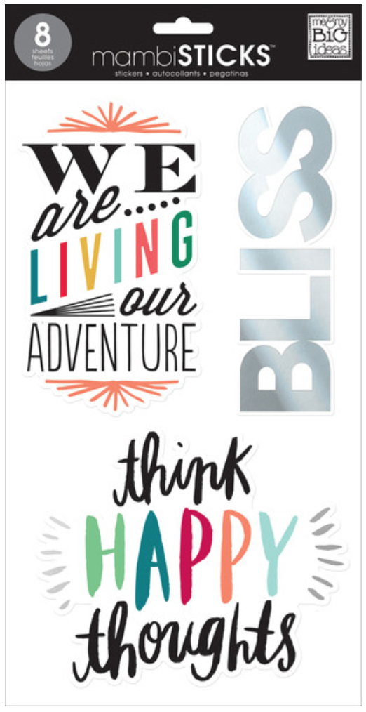 'Think Happy Thoughts' jumbo mambiSTICKS clear stickers | me & my BIG ideas