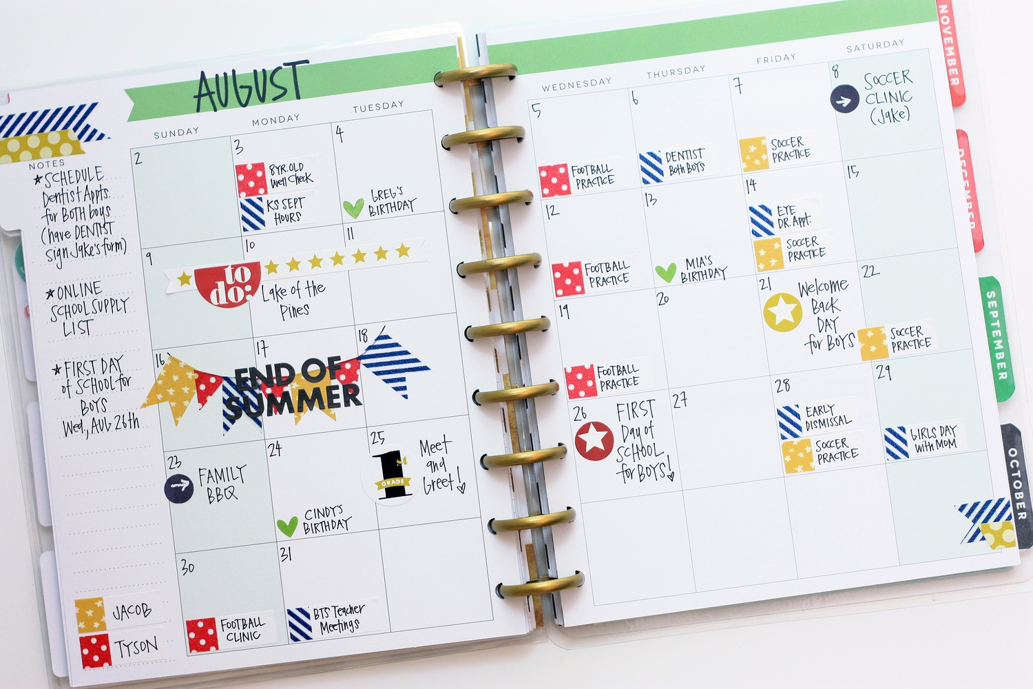 'Back to School' August monthly spread