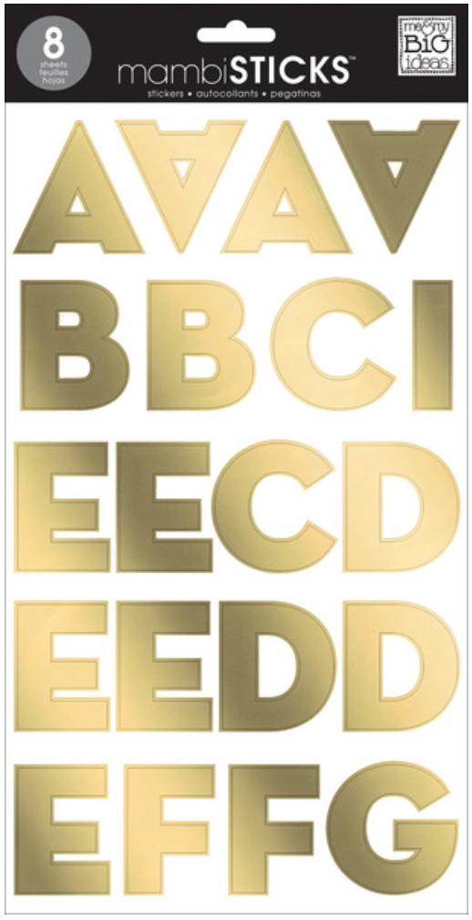 Gold Foil Uppercase Sans Serif mambiSTICKS big alpha stickers | me & my BIG ideas