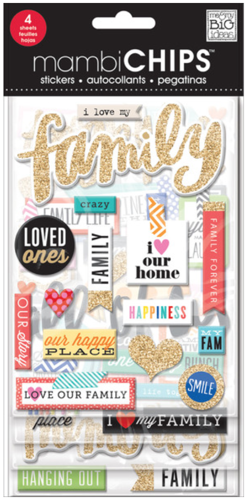 'I Love My Family' mambiCHIPS chipboard stickers pack | me & my BIG ideas