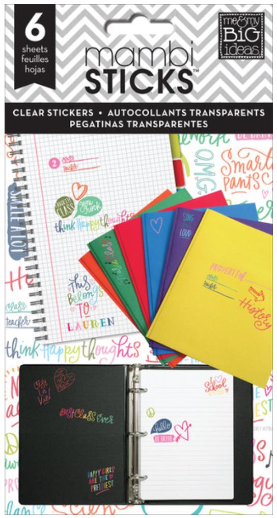 'School Sayings' mambiSTICKS clear sticker pad | me & my BIG ideas
