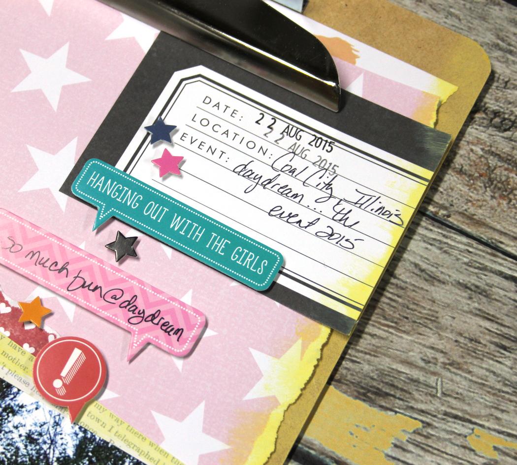 a scrapbook layout on a clipboard by mambi Design Team member Candi Billman | me & my BIG ideas