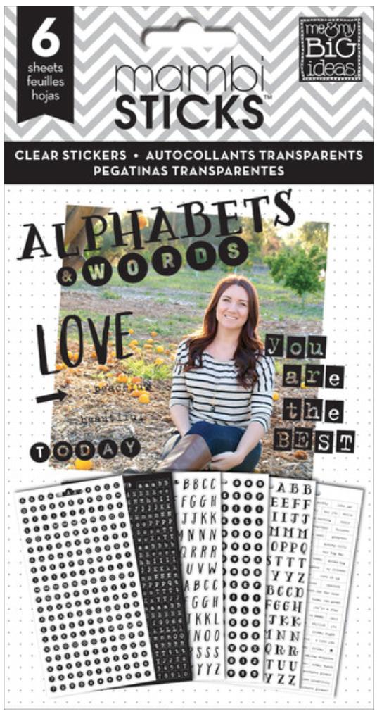 Black Alphas & Words Clear mambiSTICKS stickers | me & my BIG ideas