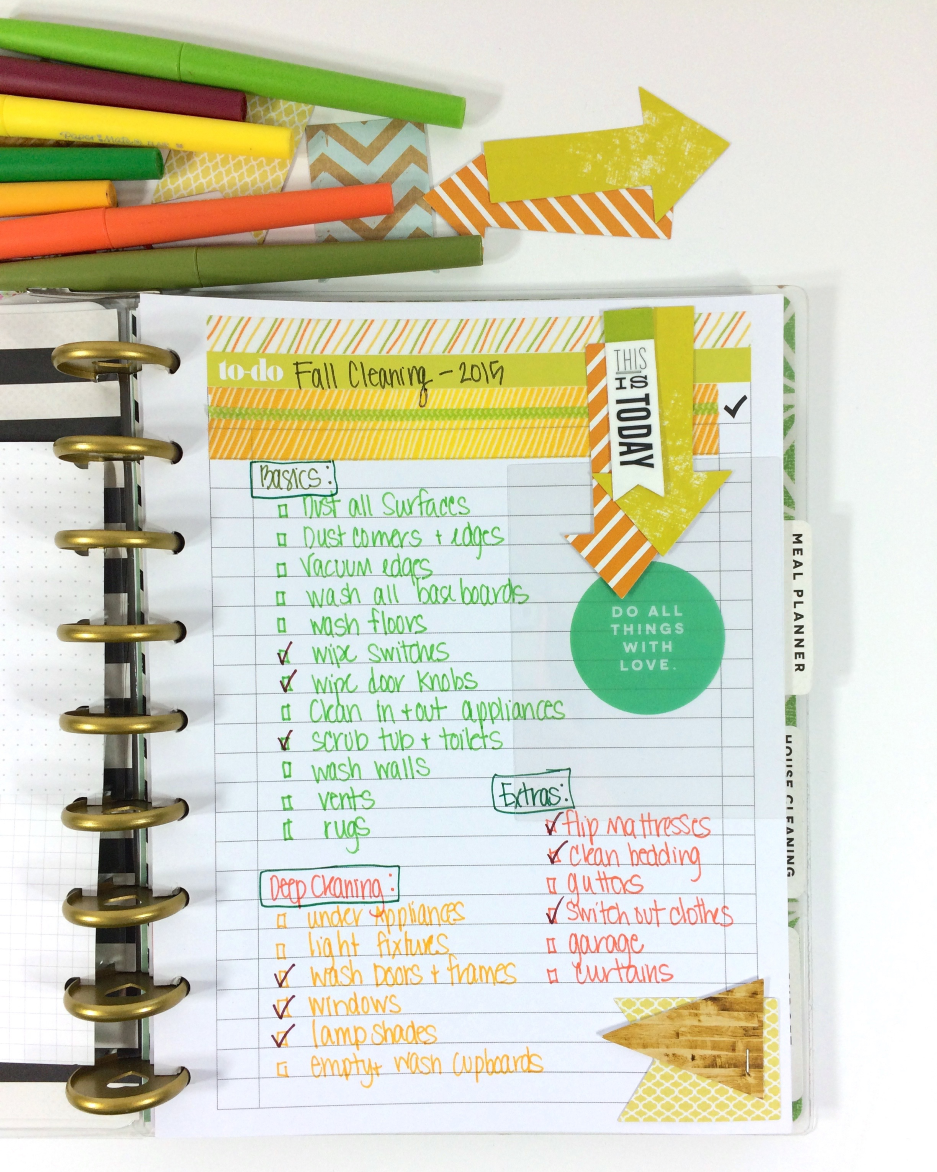 a Fall Cleaning 'to do' list in The Happy Planner™ of mambi Design Team member Mary-Ann Maldonado | me & my BIG ideas