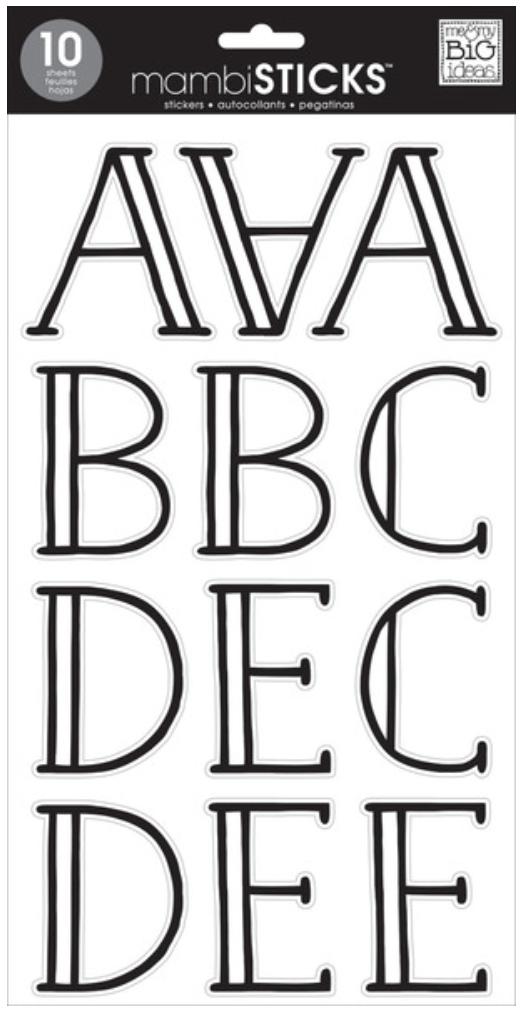 Hand Drawn Black Uppercase Alphabet mambiSTICKS alpha stickers | me & my BIG ideas