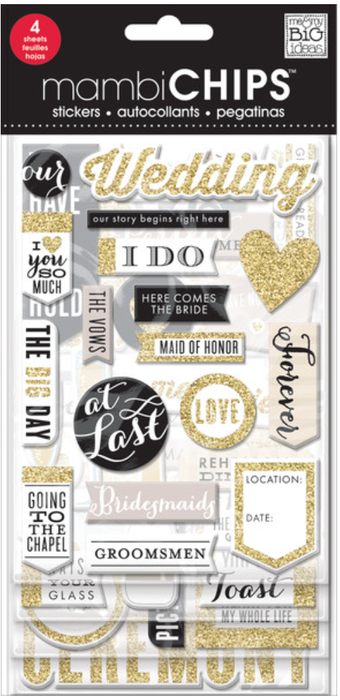 'The Big Day' mambiCHIPS chipboard sticker pack | me & my BIG ideas