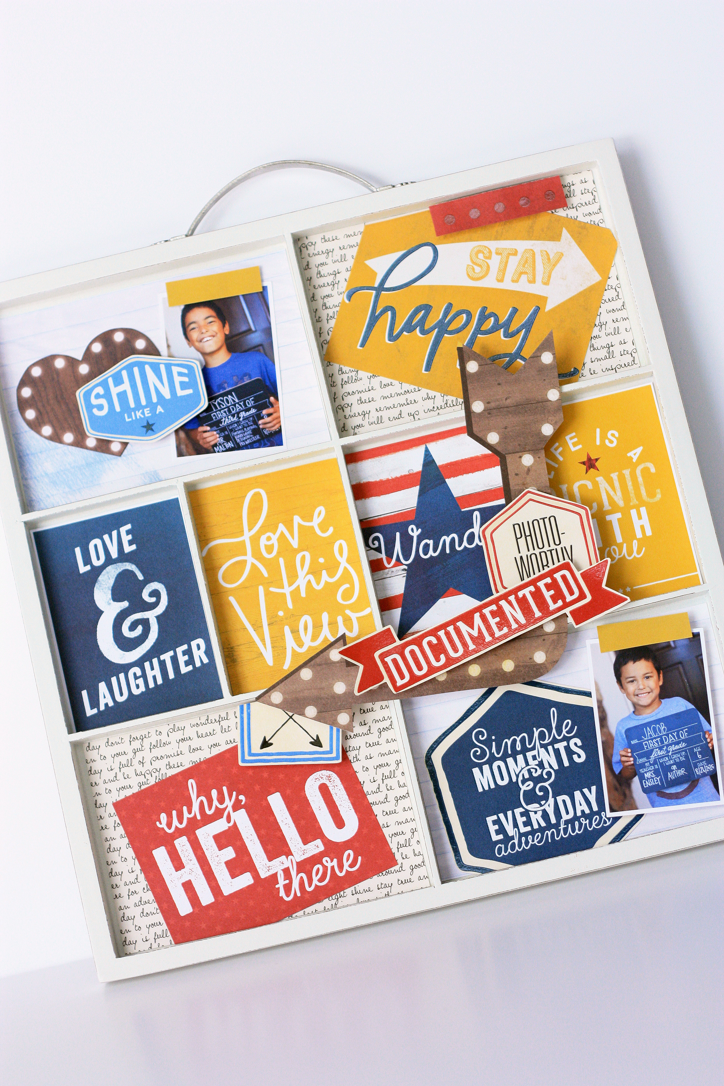 craft tray filled with first day 'back to school' photos and mambiSHEETS by mambi Design Team member April Orr | me & my BIG ideas