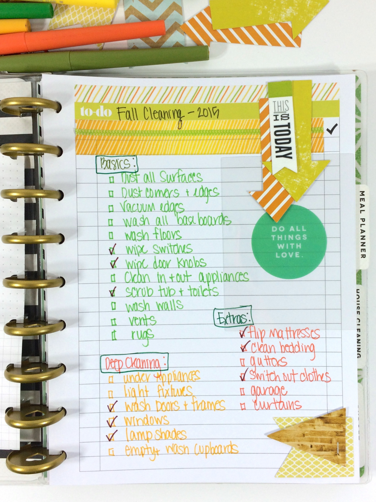 'Fall Cleaning' list using 'To Do'page