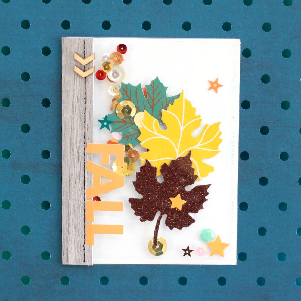 fall leaves shaker pocket/card