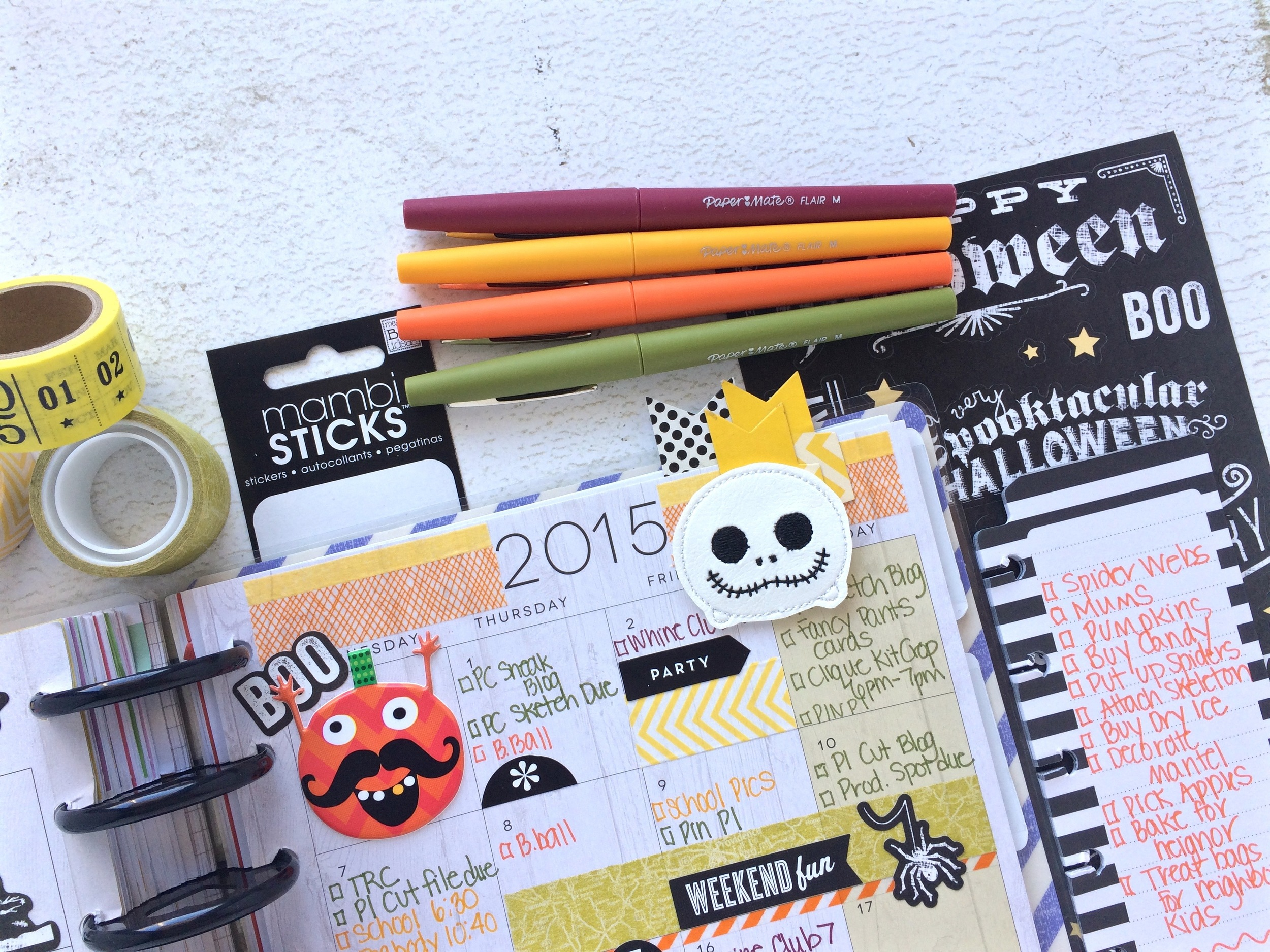 a Halloween-themed October monthly spread in The Happy Planner™ of mambi Design Team member Mary-Ann Maldonado | me & my BIG ideas