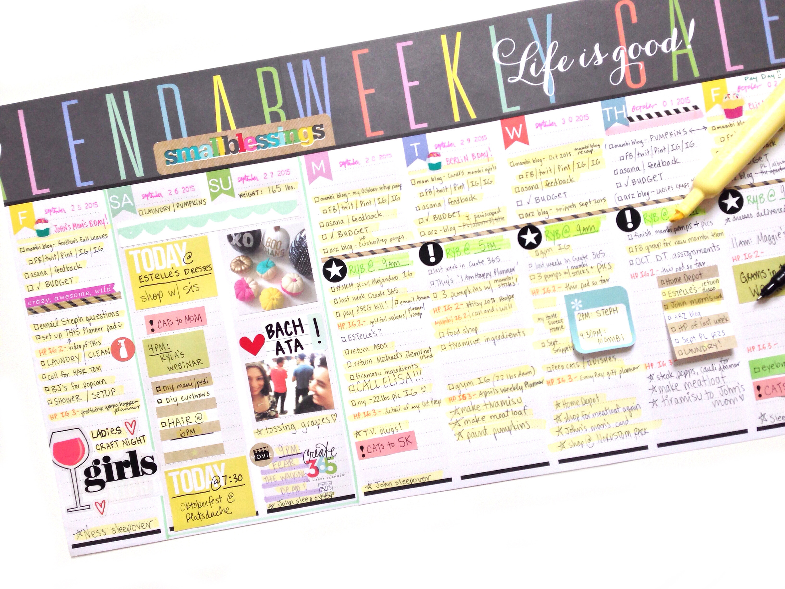 looong Weekly Planner Pad created by mambi Social Media Coordinator Amanda Zampelli by taping two planner pad sheets together | me & my BIG ideas