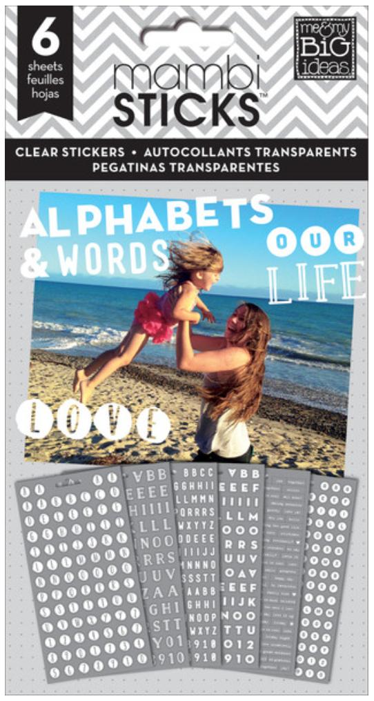 White Alphas & Words mambiSTICKS sticker pad | me & my BIG ideas