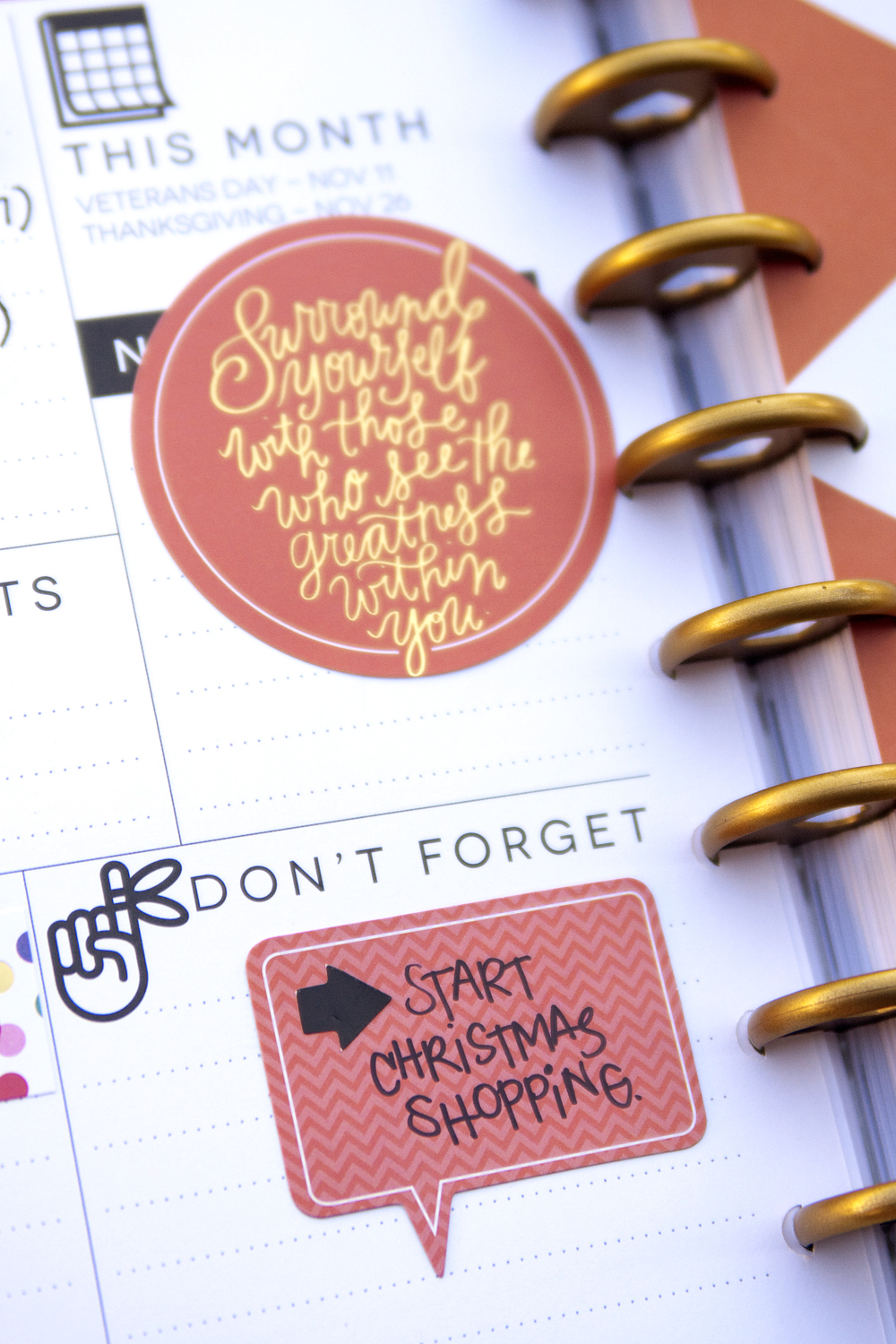 November prep pages in The Happy Planner™ of mambi Design Team member Jennie McGarvey | me & my BIG ideas