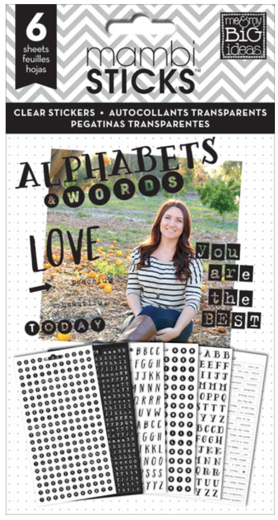 black 'Alphabets & Words' mambiSTICKS clear sticker pad | me & my BIG ideas