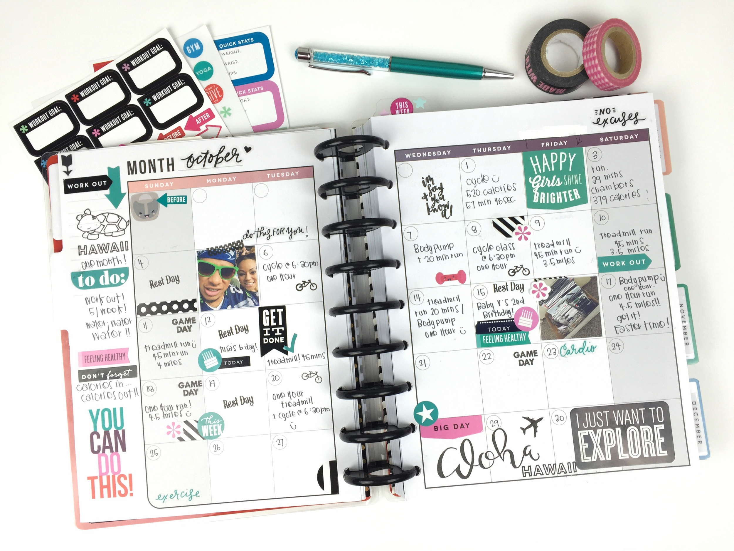 October tracking in The Happy Planner™ Fitness Planner of mambi Design Team member Chantal Stevens | me & my BIG ideas