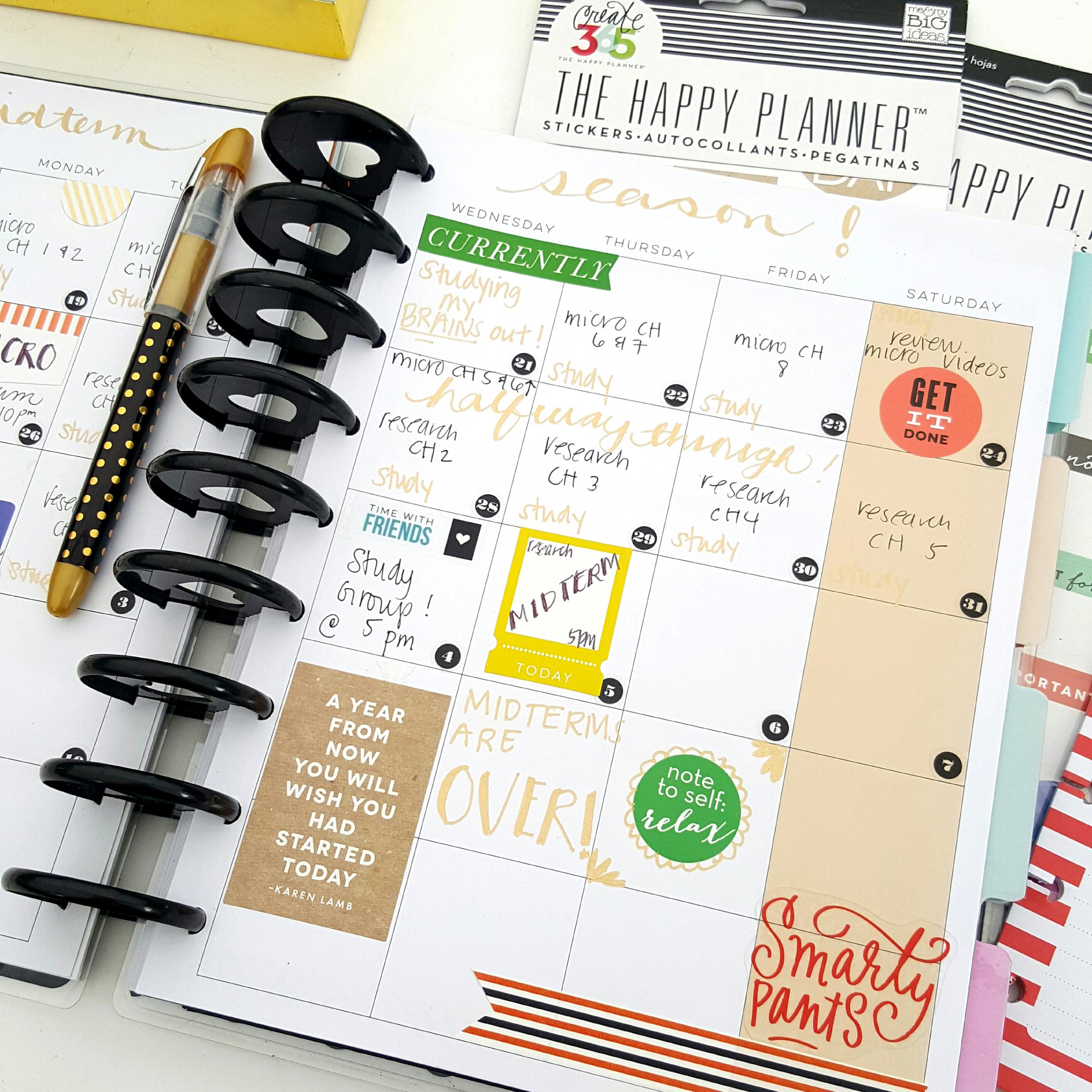 a month of midterm exams in The Happy Planner™ of mambi Design Team member Kiara Vega | me & my BIG ideas