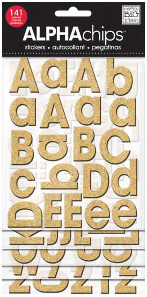 Gold Glitter Avant Garde ALPHAchips chipboard alphabet stickers | me & my BIG ideas