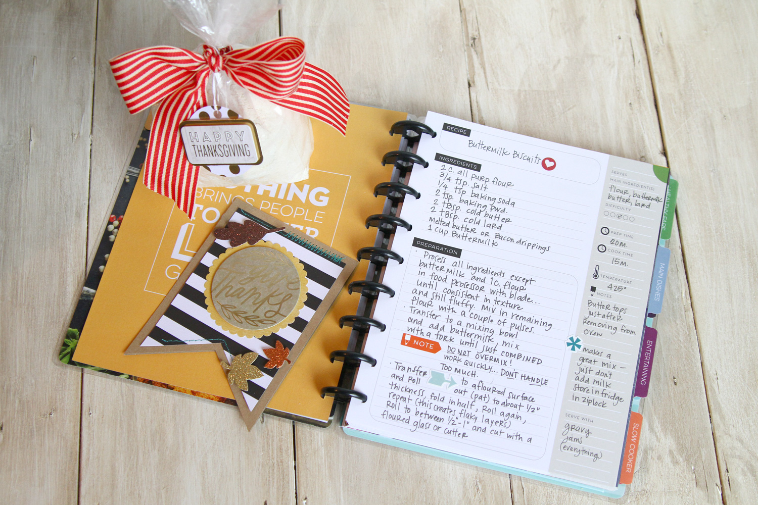 a Buttermilk Biscuits recipe in The Happy Planner™ Recipe Planner BOX KIT of mambi Design Team member Janna Wilson | me & my BIG ideas