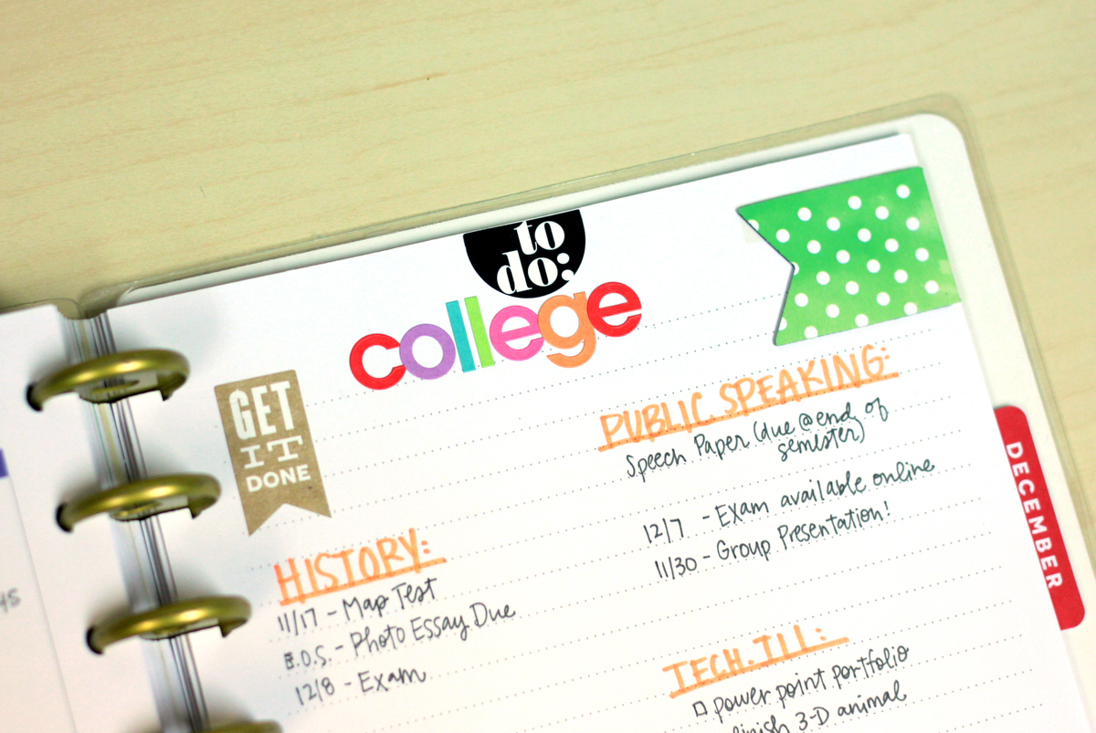 a list of College ToDos in The Happy Planner™ of mambi Design Team member Heather Adams | me & my BIG ideas