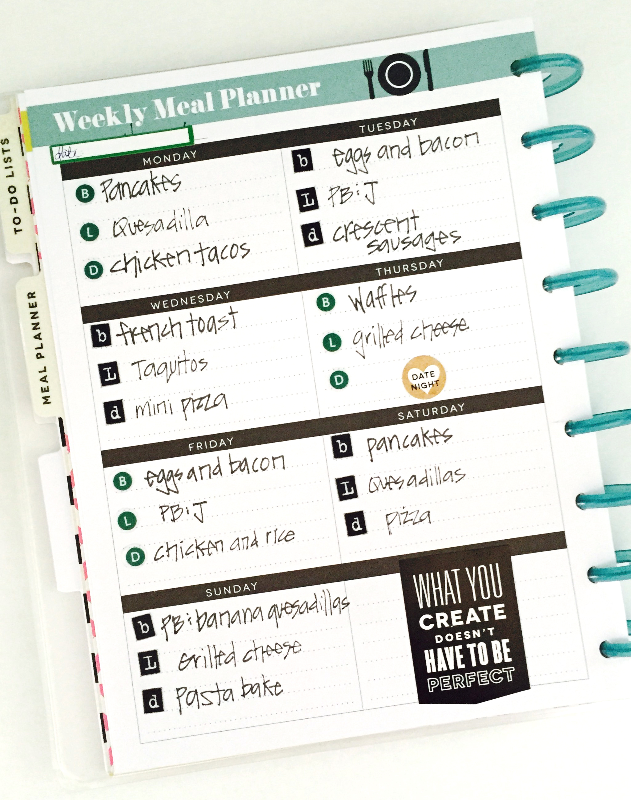 planning a week's meals in The Happy Planner™ of mambi Design Team member Casie Gutierrez | me & my BIG ideas