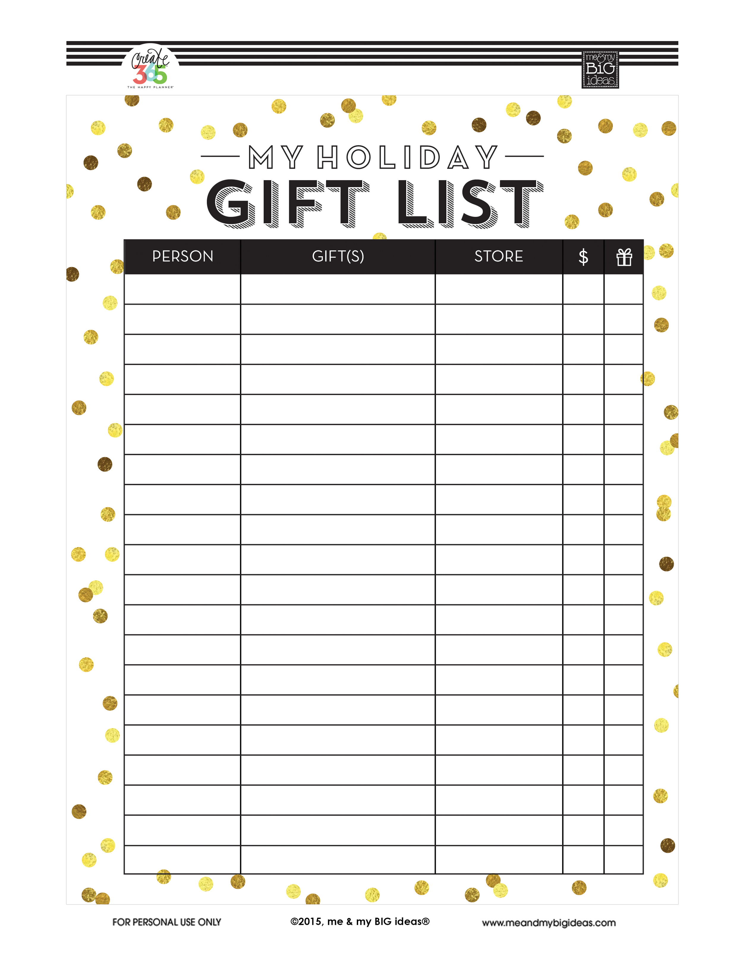 graphic about Christmas Gifts List Printable identified as Vacation Reward Checklist Free of charge PRINTABLES me my Huge tips