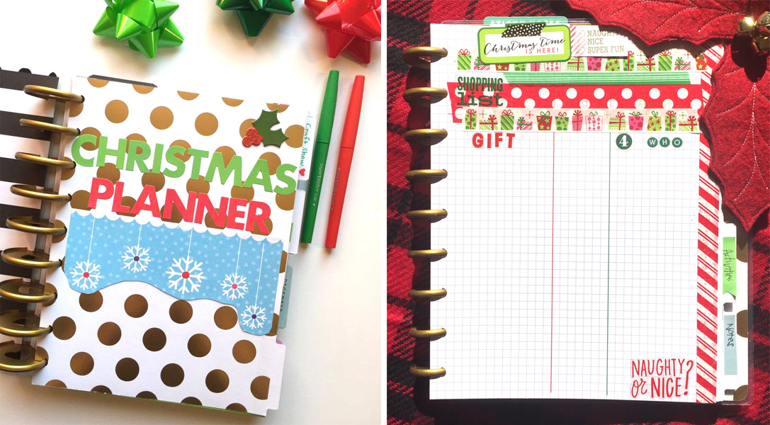 two Christmas-ready Happy Planners™ created by mambi Design Team members Megan McKenna and Casie Gutierrez | me & my BIG ideas