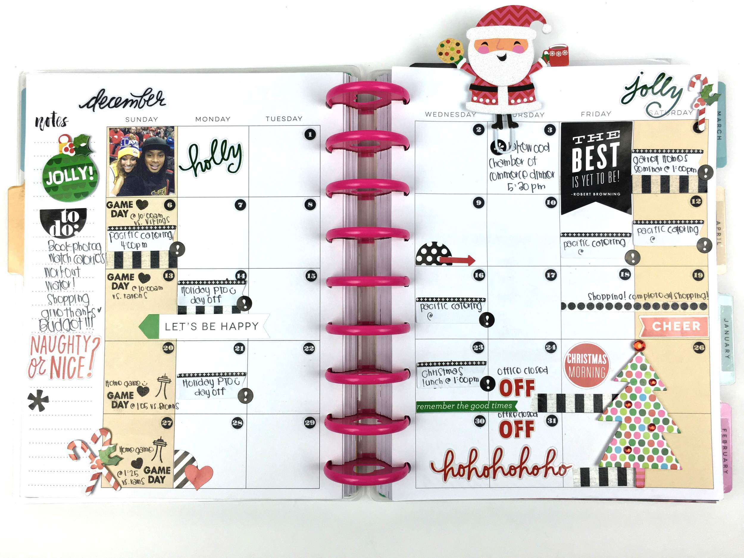 December pages in the The Happy Planner™ of mambi Design Team member Chantal Stevens | me & my BIG ideas