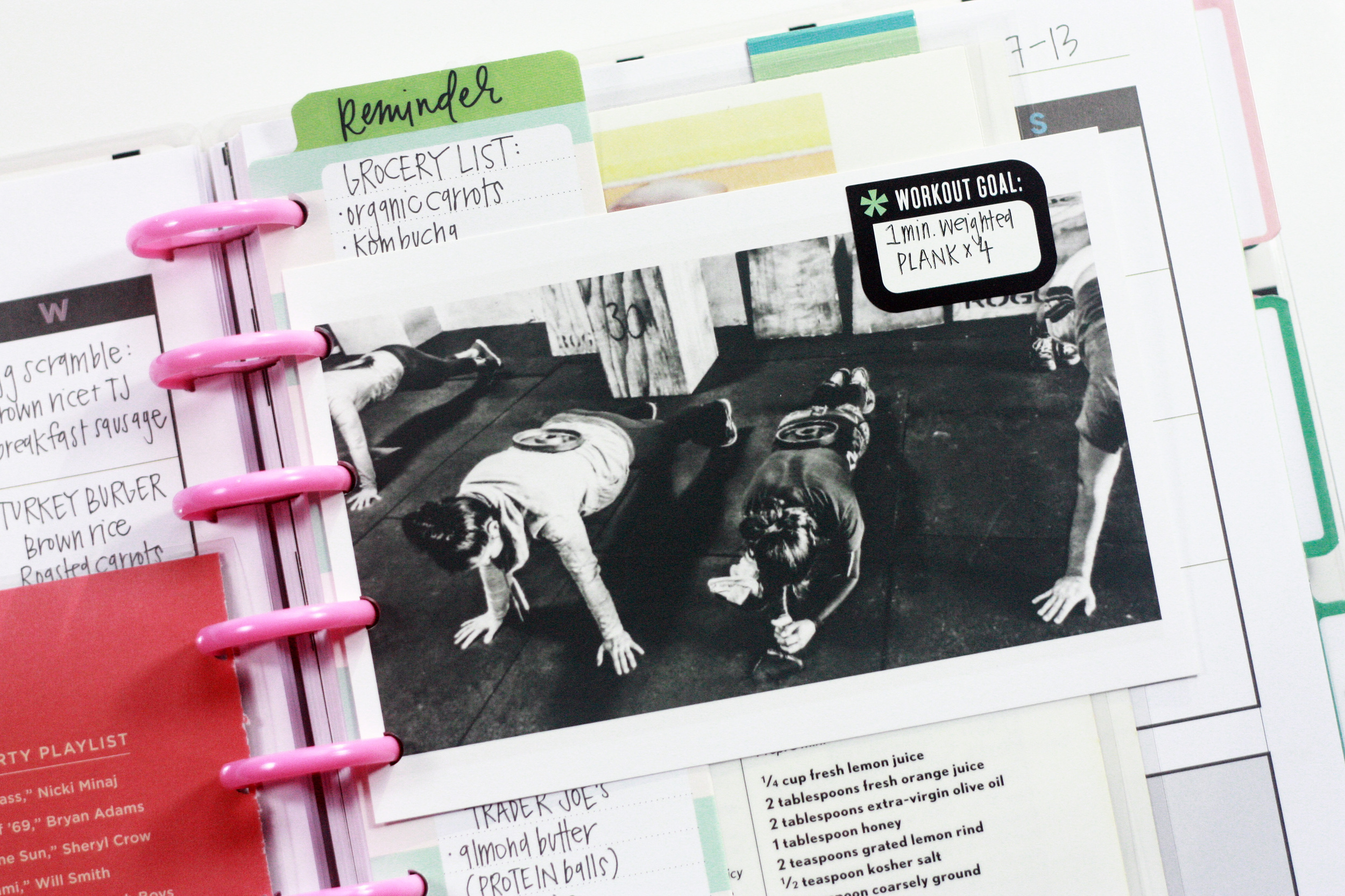 weekly food & exercise log + added inspirational elements in the Fitness Planner of mambi Design Team member April Orr | me & my BIG ideas