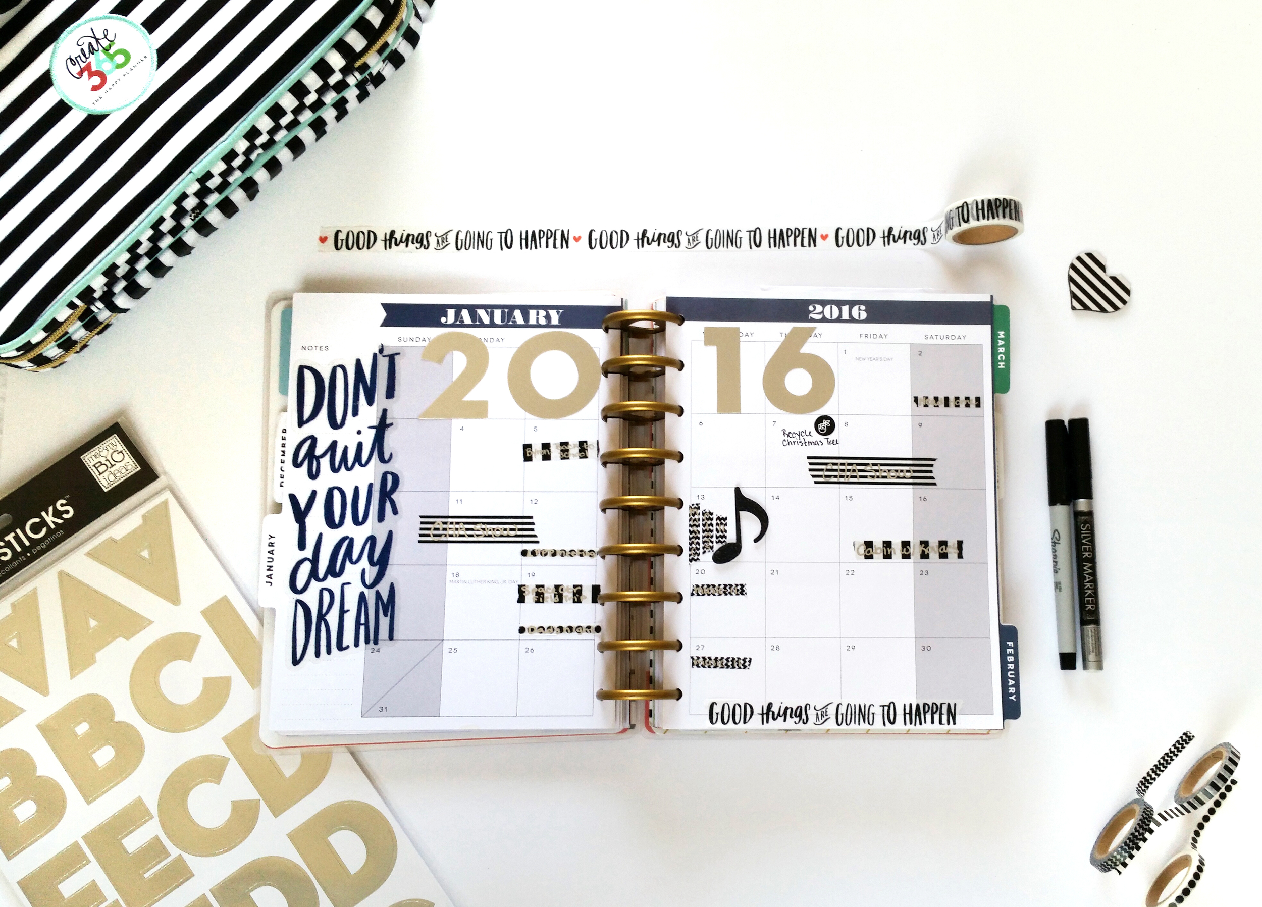 Happy 2016! January monthly layout in The Happy Planner™ of mambi Deisgn Team member Nicole Lensen | me & my BIG ideas