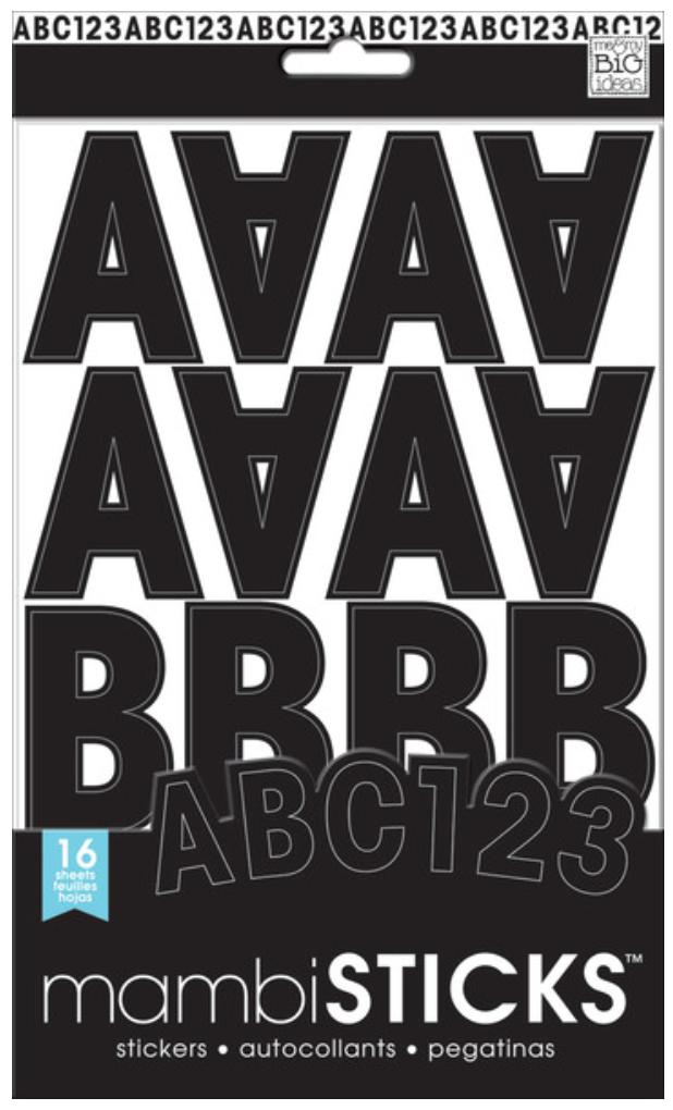 Black Uppercase Medium mambiSTICKS alphabet stickers | me & my BIG ideas