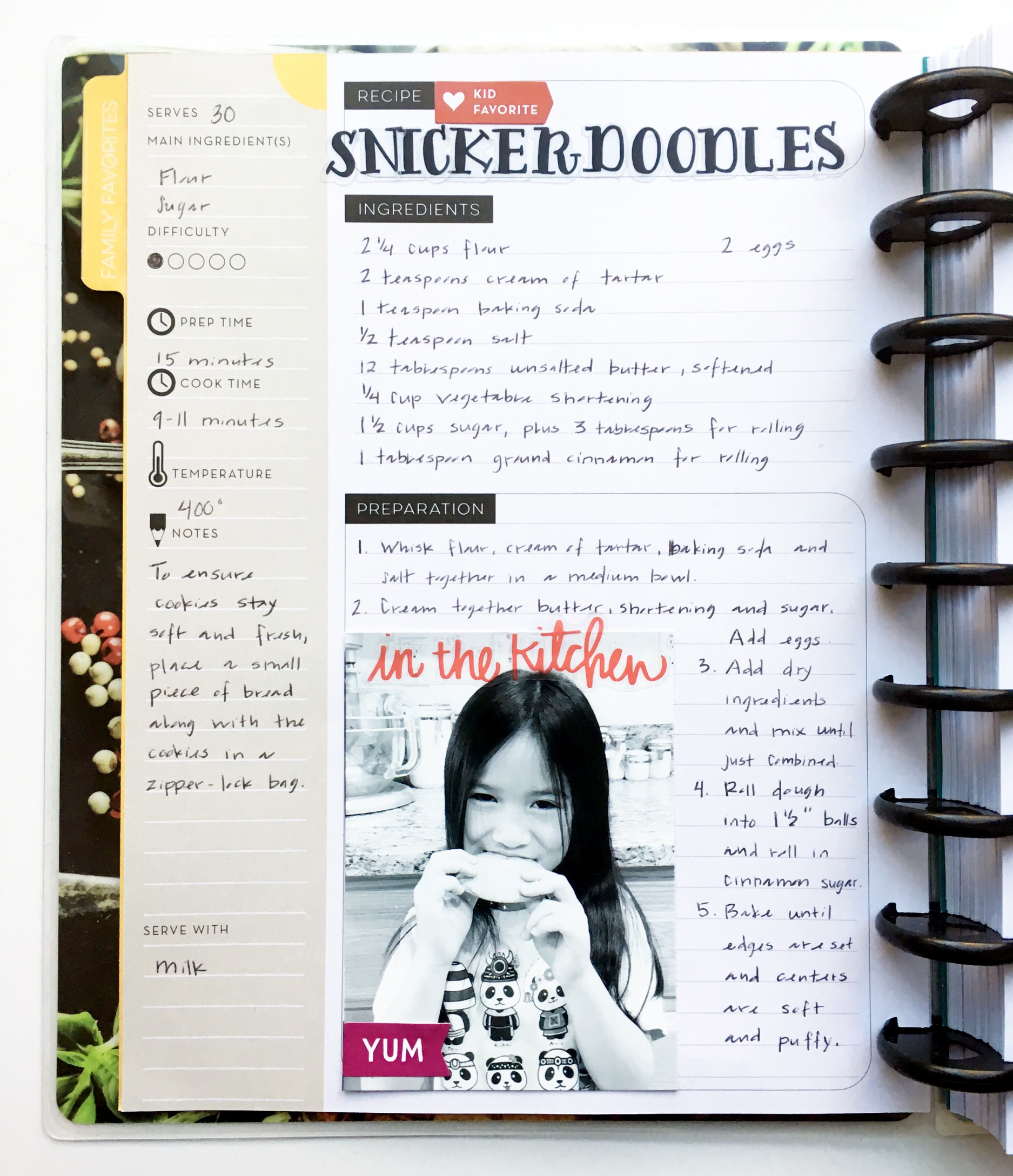 Snickerdoodles & Belgian Waffles in The Happy Planner™ Recipe Organizer of mambi Design Team member Theresa Doan  | me & my BIG ideas