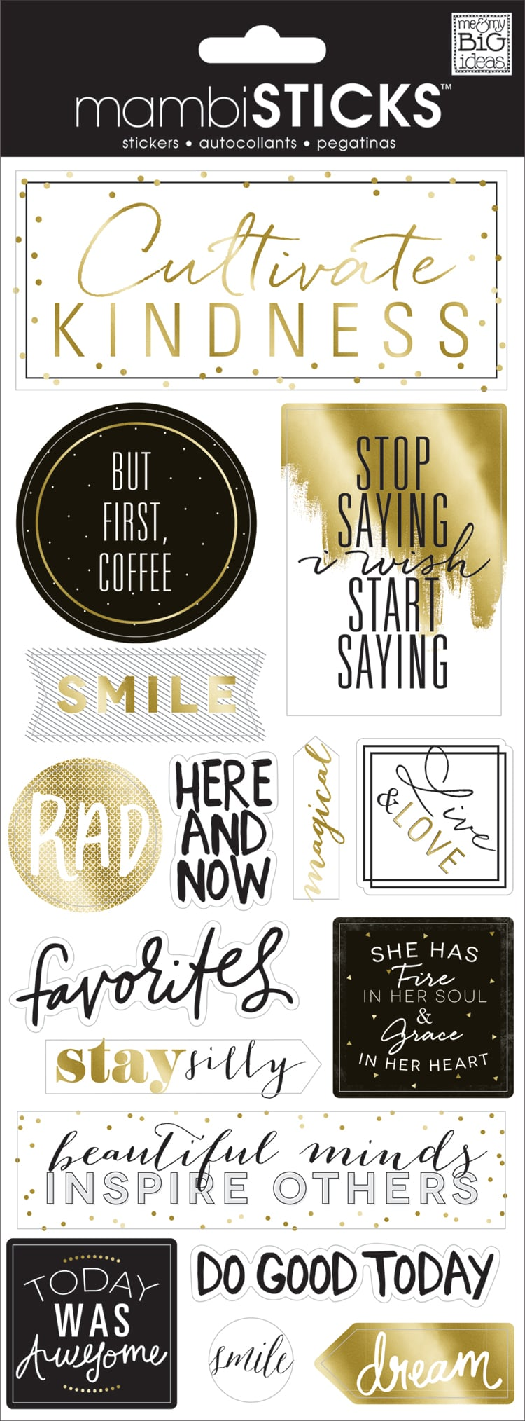 'Cultivate Kindness' mambiSTICKS gold & black clear stickers | me & my BIG ideas.jpg