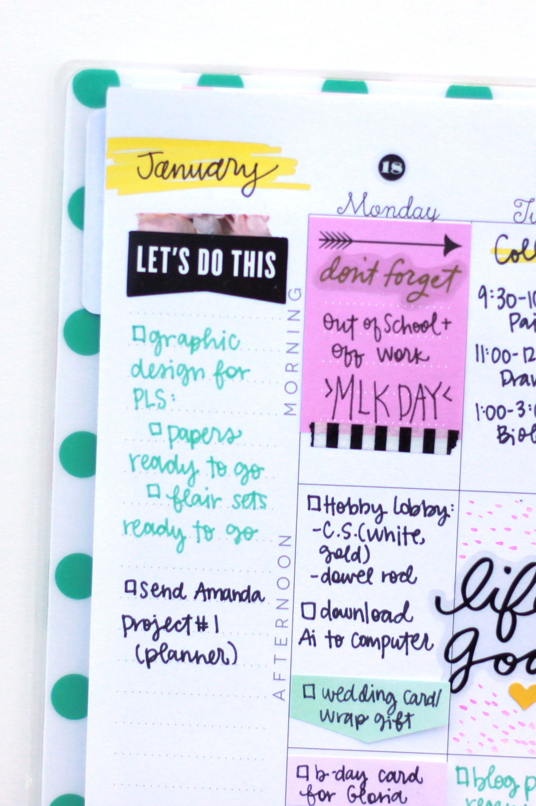 last week in January w/ watercolor doodles in The Happy Planner™ of mambi Design Team member Heather Adams   me & my BIG ideas