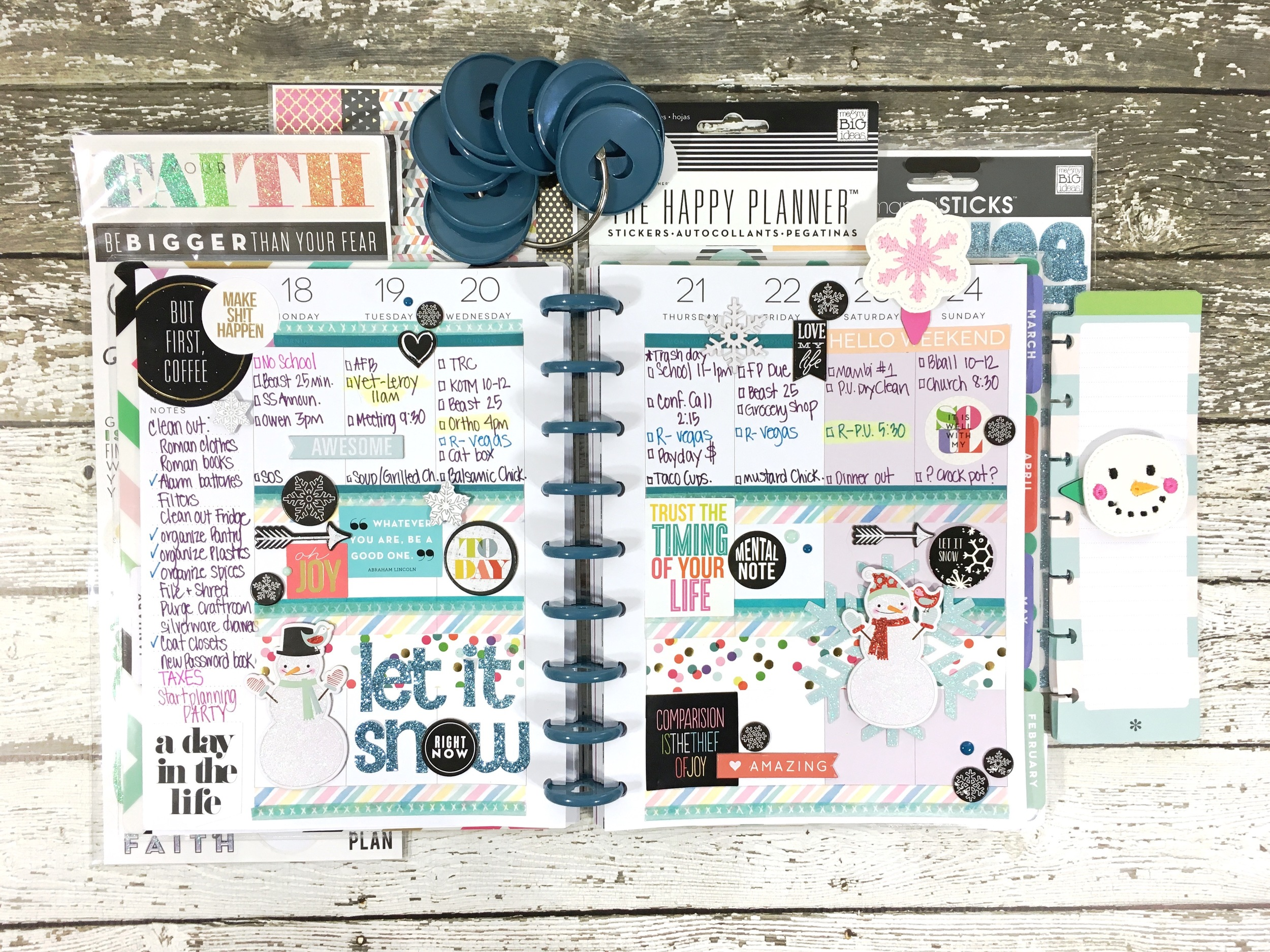 'letit snow' weekly layout in The Happy Planner™ of mambi Design Team member Mary-Ann Maldonado   me & my BIG ideas