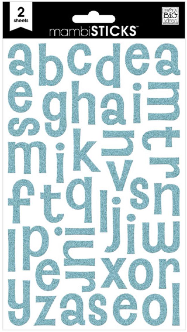 Turquoise Glitter mambiSTICKS alphabet stickers   me & my BIG ideas